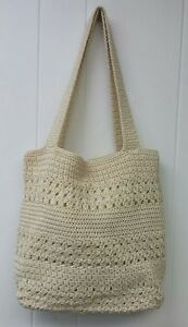 THE-SAK-14-034-IVORY-CROCHET-SHOULDER-HANDBAG-WOVEN-PURSE-BAG-REINFORCED-BOTTOM