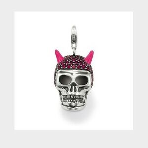 New thomas sabo sterling silver large red skull pink horns pendant image is loading new thomas sabo sterling silver large red skull mozeypictures Image collections