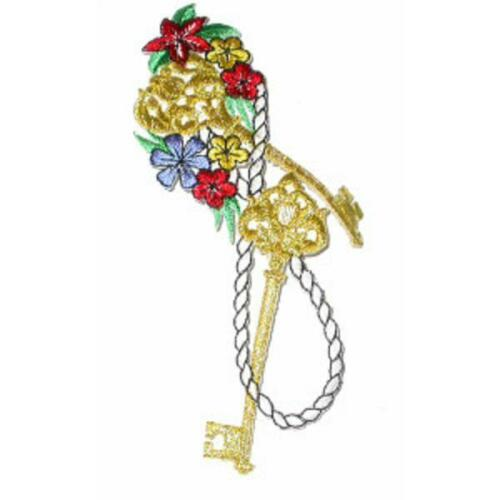 Keys /& Flowers Iron on Appliques x 1