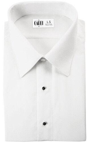 White Microfiber Non-Pleated Slim Fit Tuxedo Shirt