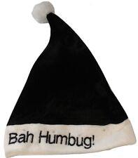 ** CHRISTMAS BAH HUMBUG SANTA HAT POM POM NOVELTY XMAS ADULT FUN BLACK NEW **