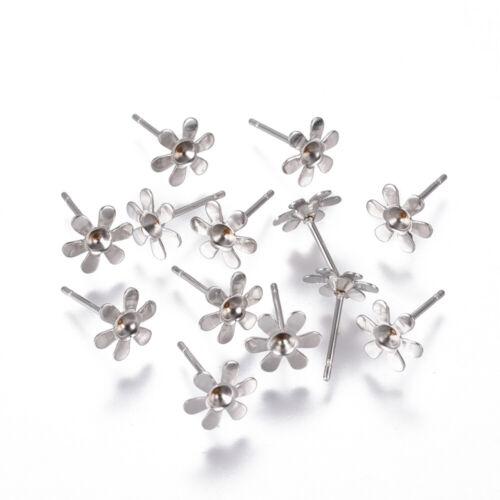 10pcs Stainless steel stud earrings blanks flower shape fit 2.5mm rhinestones