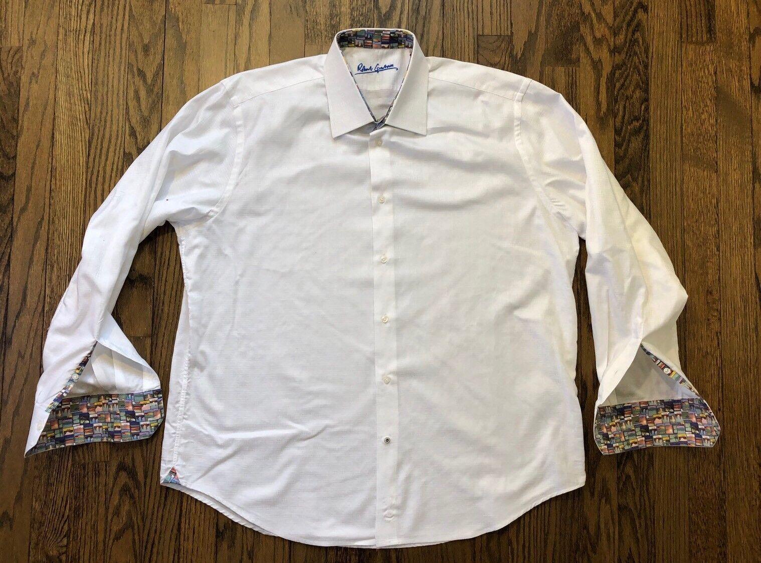 Robert Graham Mens Long Sleeve Flip Cuff Button Down Casual Shirt Size XL