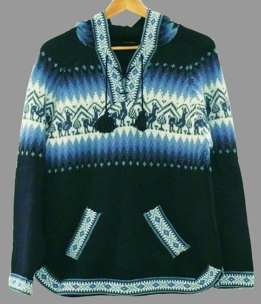 Peru Alpaka Pullover blau blau blau marine Gr. M L XL XXL Alpaca Wolle Lama Ethno Muster | Online-Exportgeschäft  8da175