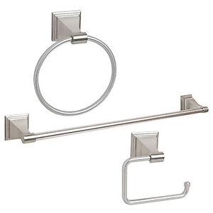 Satin Nickel 3 Piece Bath Accessories Hardware Towel Bar Paper Holder Set Ebay