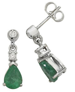 Emerald and Diamond Earrings White Gold Drops Appraisal Certificate