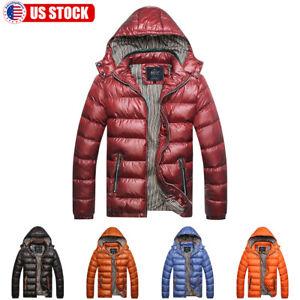 Men-039-s-Warm-Hooded-Thick-Padded-Jacket-Zipper-Casual-Parka-Outwear-Coat-Winter