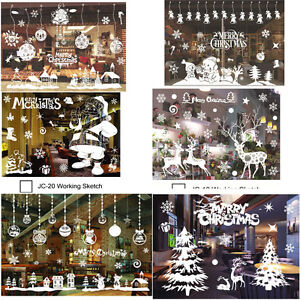 image is loading christmas xmas santa removable window stickers art decal - Christmas Window Stickers