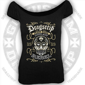 dragstrip clothing girl gypsy top tattoo sugar skull mexican lucky