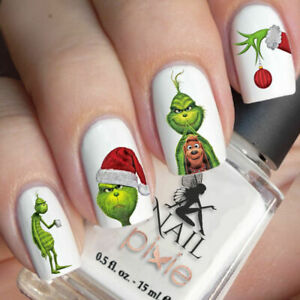 PAINTED-GRINCH-Christmas-Nail-Decal-Xmas-Water-Transfer-Sticker-Tattoo