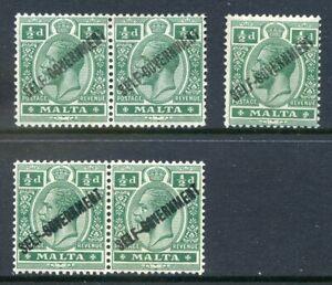 Malta-1922-Self-Govt-d-wmk-mult-crown-CA-3-inking-errors-mint-2019-06-05-06