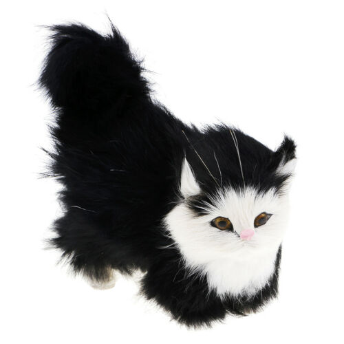 Simulation Cats Plush Stuffed Animal Home Decor Kids Birthday Gifts Black