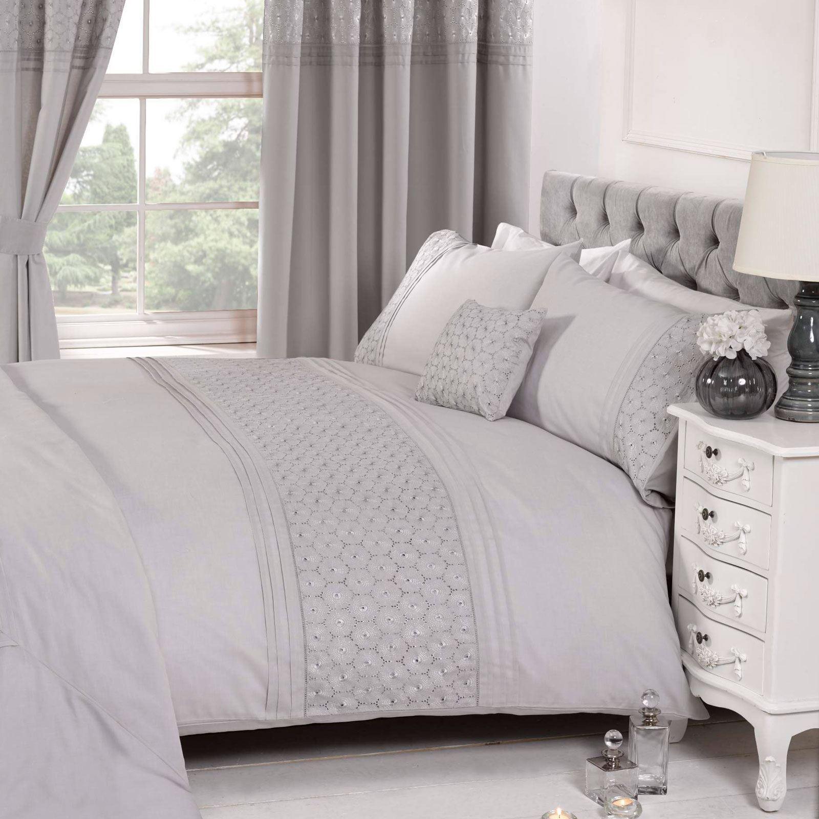 EGrünan Blaumenmuster Grau Bettbezug & Kissenbezug Set Elegant - King Größe | Erlesene Materialien