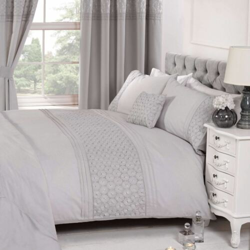 KING SIZE EVERDEAN FLORAL GREY DUVET COVER /& PILLOWCASE SET ELEGANT