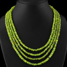 542.50 CTS NATURAL GREEN PERIDOT 4 LINE ROUND SHAPE UNHEATED BEADS NECKLACE