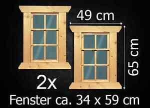2x Fenster Holzfenster Gartenhaus Gartenhausfenster Carport