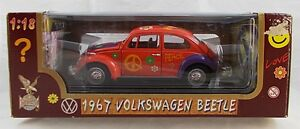 Road Legends 1967 Volkswagen Beetle Orange Flower Power 1:18  Diecast MIB