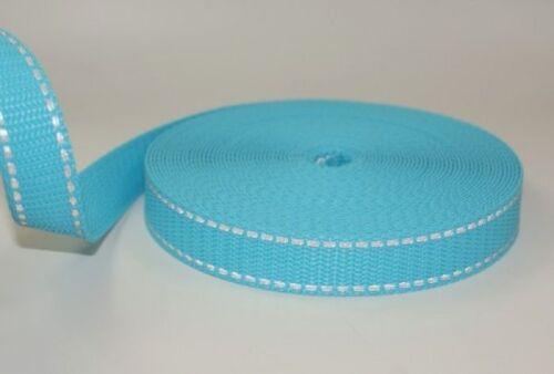 20mm breit Türkis mit Reflektorstreifen 10m PP Gurtband UV 1,4mm stark