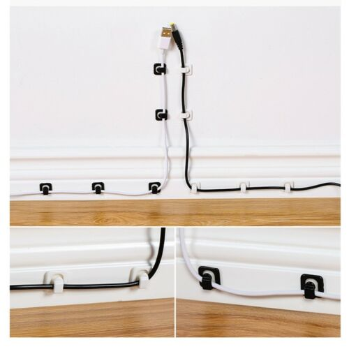 18Pcs Cable Wire Organizer Holder Line Fixer Fastener Clips Wall Sticker Clamps