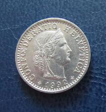 """Münze 20 Rappen Schweizer Franken 1992 """"B"""" aus Umlauf gültiges Zahlungsmittel"""
