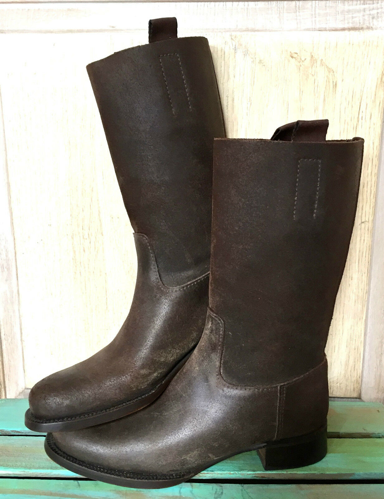 Prada brown Distress Leather Moto Riding Boots pull on tabs EUC 38.5