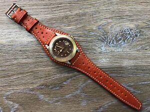 full-bund-strap-Orange-leather-watch-strap-band-Brogue-Pattern