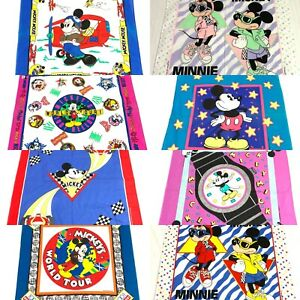 Vintage Disney Mickey Mouse 1980s Bandanas Hankerchiefs Rags Squares Lot Of 9