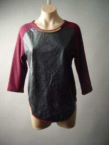 Black-Faux-Leather-90s-Punk-Grunge-Burgundy-Baseball-Top-296-mvp-T-Shirt-S-M-L