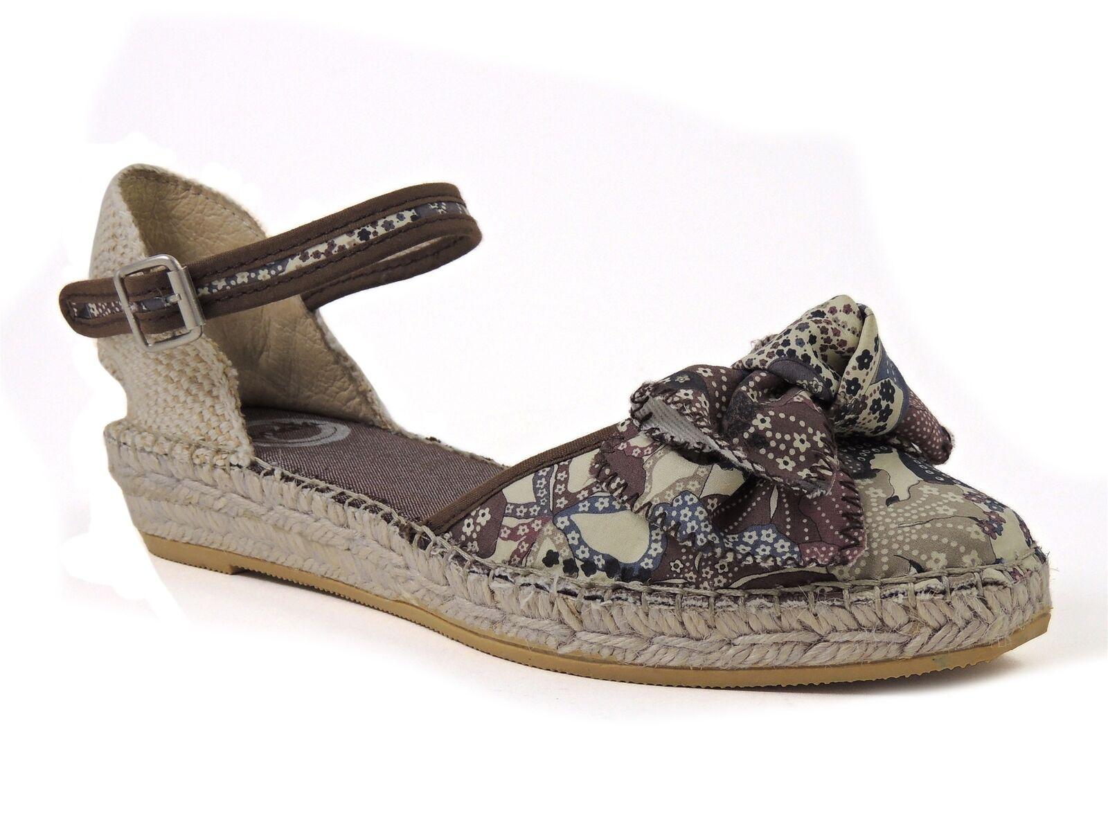 Vidorreta Women's Cosmo Platform Sandals Brown Floral Euro Size 41