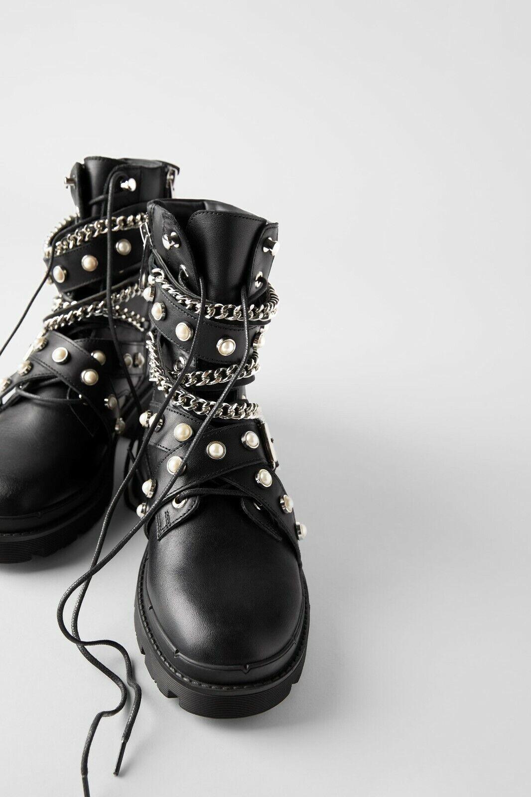 Zara Flach Biker Stiefeletten Perlen Kette UK3 EUR36 US6