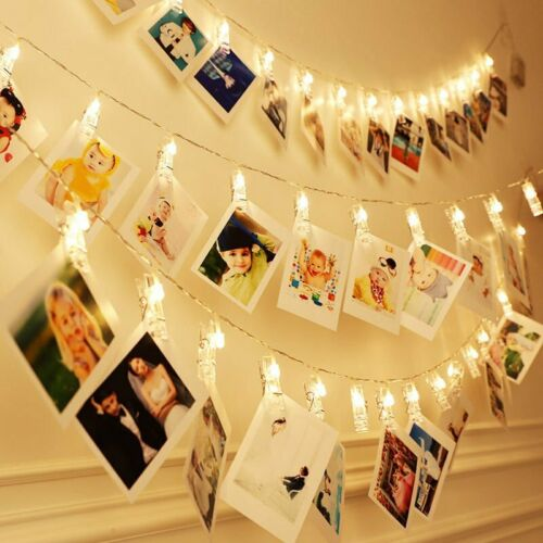 20-50 LED Hanging Picture Photo Peg Clip Battery Fairy String Lights Xmas Room