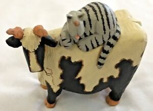 """humor black white 4"""" milk cow with horns with cat on back"""