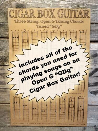 "Chord Poster for Cigar Box Guitars 3-string Open G /""GDG/"""