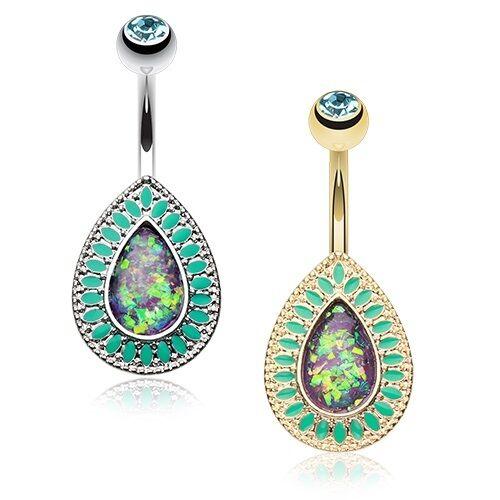 Golden Chakra Opal Belly Button Ring Aqua Silver Piercing Sexy Beautiful Indian