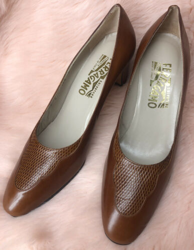 Vtg 70s Ferragamo Tan Calf Brown Lizard Leather He