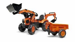 Kubota Branded Orange M135 Kids Ride on Pedal Tractor w/ Loader/BackHoe/Trailer
