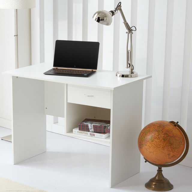 Home Office Desk Computer Table Workstation With 1 Drawer Storage White Raygar