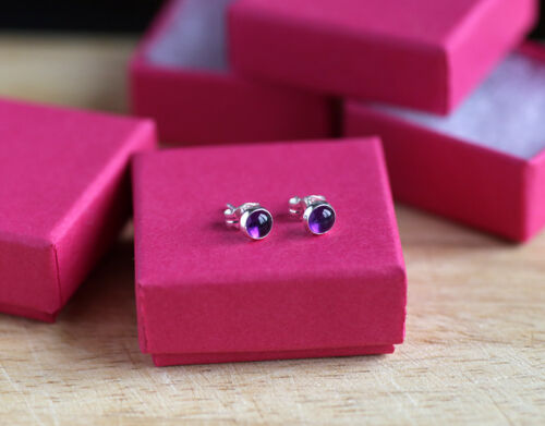 925 Sterling silver stud earrings with natural Amethyst gemstone cabochons