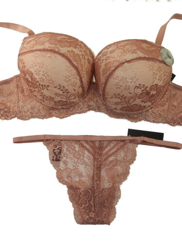 STRAPPY STRING THONG PANTY SET 36-40 D DD NWT GORGEOUS POWER PUSH UP BRA