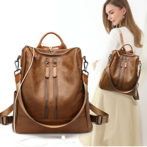 Women-Lady-Backpack-Faux-Leather-Travel-Rucksack-Laptop-School-College-Bag-Girl