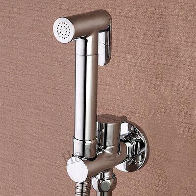 Brass Hand Held Bidet Douche Kit Spray Shower with shut off  Valve Holder