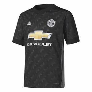 Details zu Adidas Fußball Manchester United Kinder Away Trikot 2017 2018 schwarz weiß grau