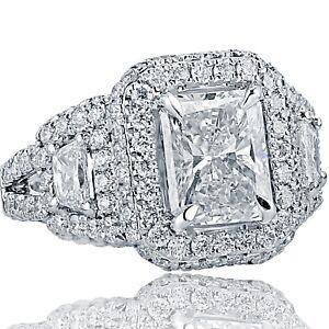 Art-Deco-4-67-Ct-Radiant-Diamond-Engagement-Ring-Trapezoid-Side-18K-White-Gold