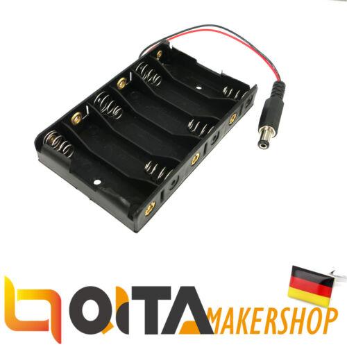 QITA Batteriehalter für 6 x Mignon AA Anschlusskabel DC Barrel Jack Connector