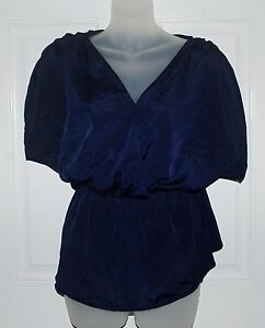 Banana-Republic-Navy-Blue-Short-Sleeve-Crossover-Top-Blouson-Blouse-Size-M