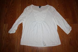 New womens bandolino white sleeve lace applique blouse shirt