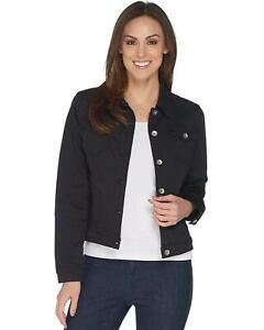 Susan-Graver-Womens-Stretch-Twill-Button-Front-Jacket-Medium-Black-A301155