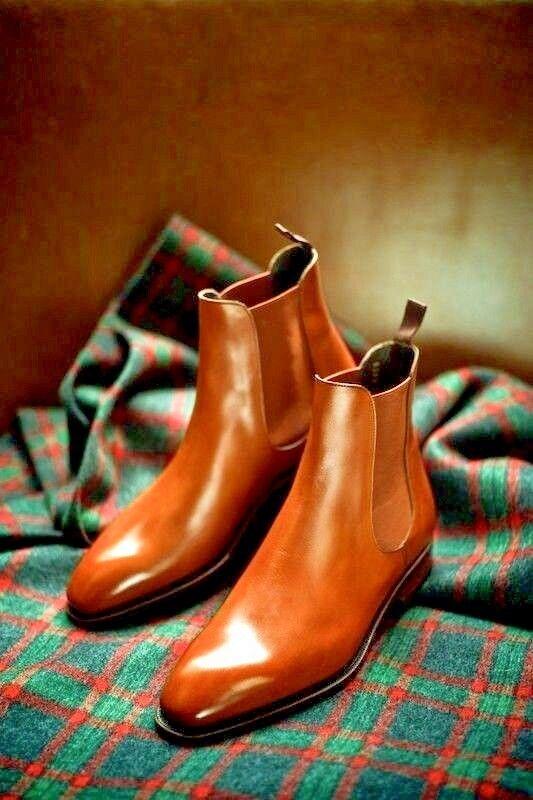 De hombre hecho a Mano Cuero Tostado Chelsea Botín, Hombres Vestir Formal Informal botas de puente
