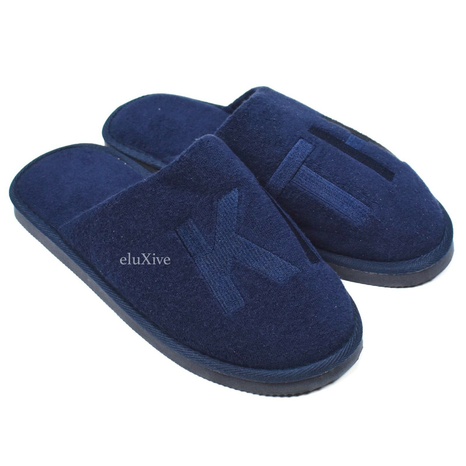 NWT Kith Men's Navy Logo Embroidered Regal Spa Slippers Terry Slides AUTHENTIC