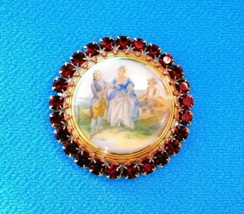 #G051 Vintage Style Czech RHINESTONE ALL Glass Button 41 mm 1 pc SIGNED